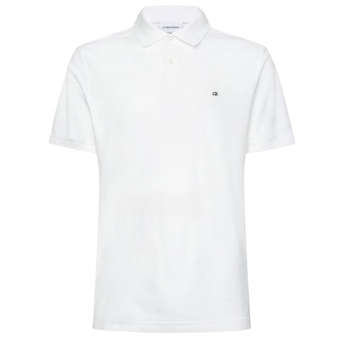 Slim Cotton Pique Polo Shirt in Perfect White Polo Shirts Calvin Klein