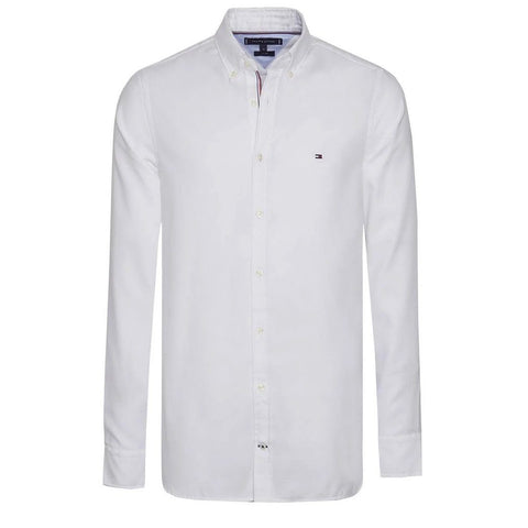 Essential Slim Fit Dobby Shirt in Bright White Shirts Tommy Hilfiger