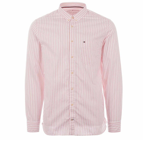 Organic Oxford Stripe Shirt in Coral Brush/ Bright White Shirts Tommy Hilfiger