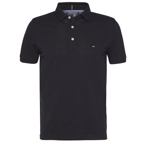Core Slim Fit Polo in Flag Black Polo Shirts Tommy Hilfiger