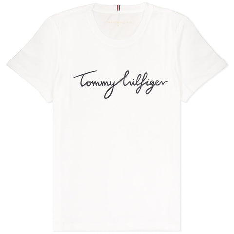 Heritage Crew Neck Graphic T-Shirt in Classic White Women's T-Shirts Tommy Hilfiger Women's