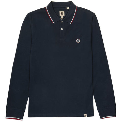 Long Sleeve Pique Polo in Navy Polo Shirts Pretty Green