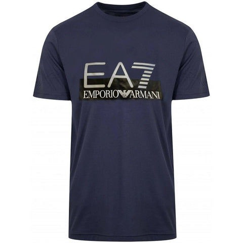 Jersey Logo Print T-Shirt in Navy Blue T-Shirts Emporio Armani EA7