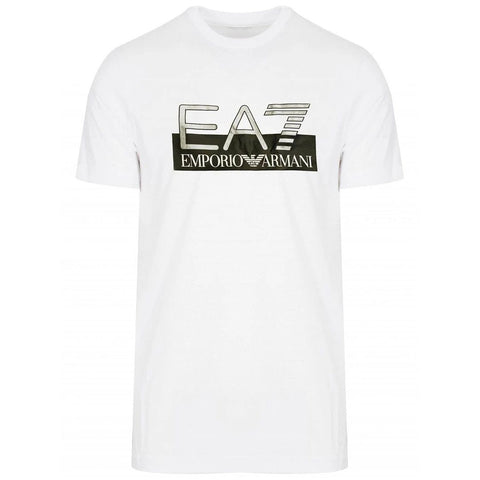 Jersey Logo Print T-Shirt in White T-Shirts Emporio Armani EA7