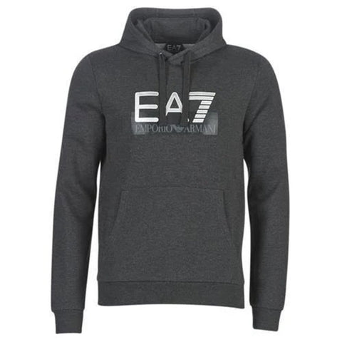Jersey Logo Hooded Sweatshirt in Carbon Melange Hoodies Emporio Armani EA7
