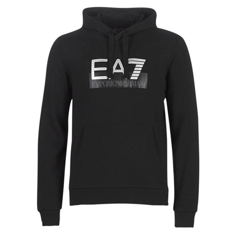 Mens Visibility Logo Hooded Sweatshirt in Black Hoodies Emporio Armani EA7