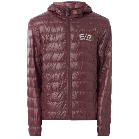Core Logo Down Jacket in Fudge Red Coats & Jackets Emporio Armani EA7