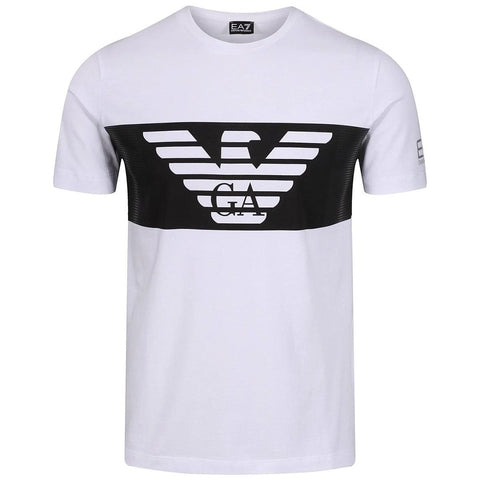 Cotton Stretch Short Sleeve T-Shirt in White T-Shirts Emporio Armani EA7