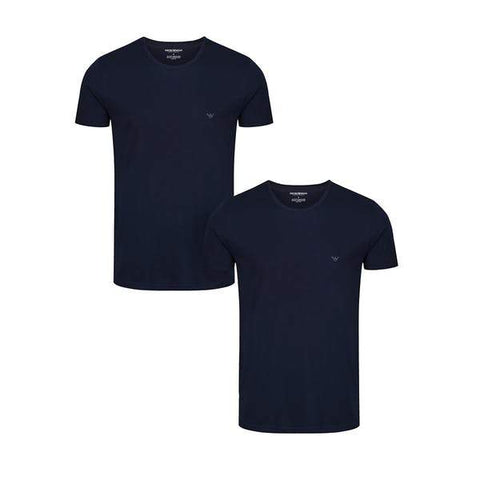 2 Pack Crew Neck T-Shirt in Navy T-Shirts Emporio Armani
