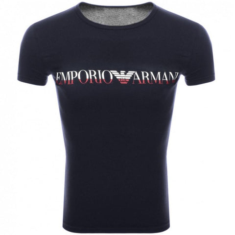 Crew Neck Slim Fit T-Shirt in Navy T-Shirts Emporio Armani