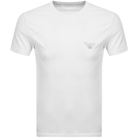 Crew Neck Organic Stretch Cotton T-Shirt in White T-Shirts Emporio Armani