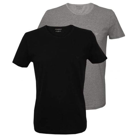 2 Pack Crew Neck T-Shirts in Black / Grey T-Shirts Emporio Armani