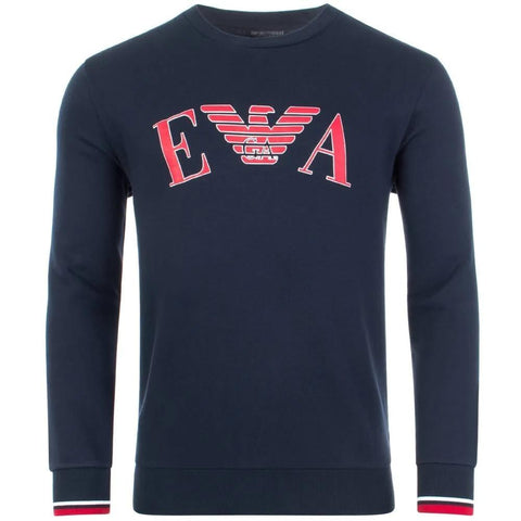 Crew Neck Sweatshirt in Navy/ Red sweatshirt Emporio Armani