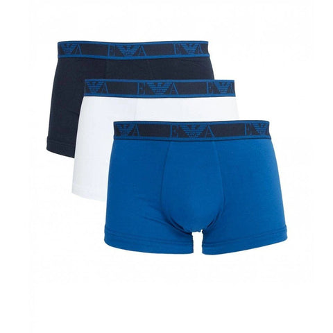 3 Pack Eva Band Trunk Boxers in Blue/ Navy/ White Edwards Menswear