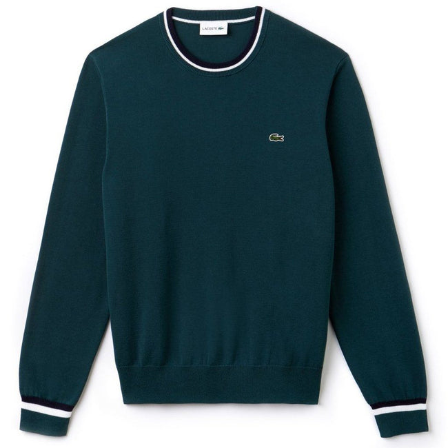 Lacoste AH9691-APP Crew Neck Contrast Pima Cotton Sweater in Aconit / Navy Blue-White