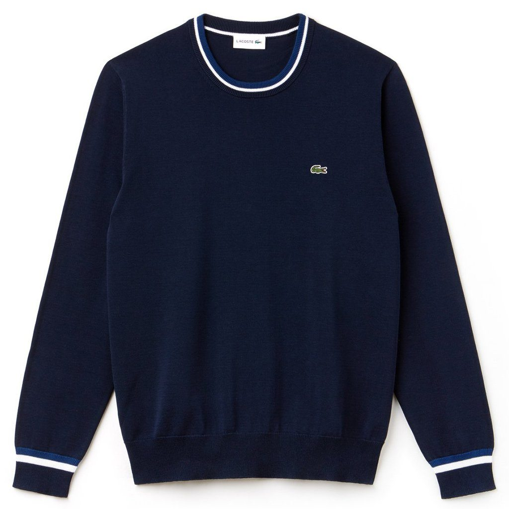 Lacoste AH9691-WH1 Crew Neck Contrast Pima Cotton Jumper in Marine / White Jumpers Lacoste
