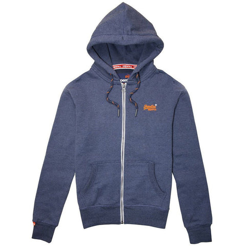 Superdry Orange Label Zip hood in Abyss Navy Feeder Stripe Ziphood Superdry
