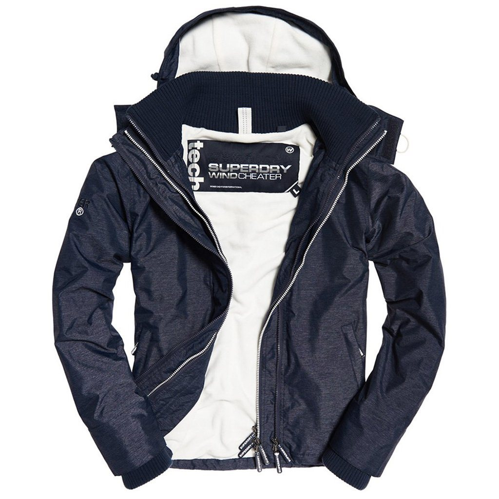 Superdry Artic Hood Pop Zip Windcheater in Navy Marl / Ecru