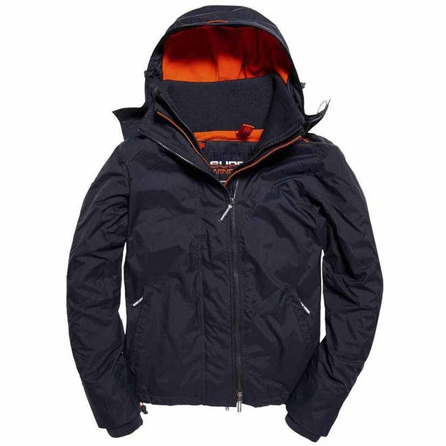 Superdry Artic Hood Pop Zip Windcheater in Petrol / Acid Orange