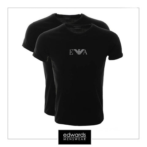 Emporio Armani 2 Pack Stretch Cotton Round Neck T-Shirt in Black