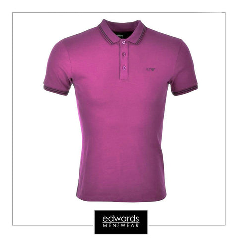 Armani Jeans Twin Tipped Polo Shirt in Violet