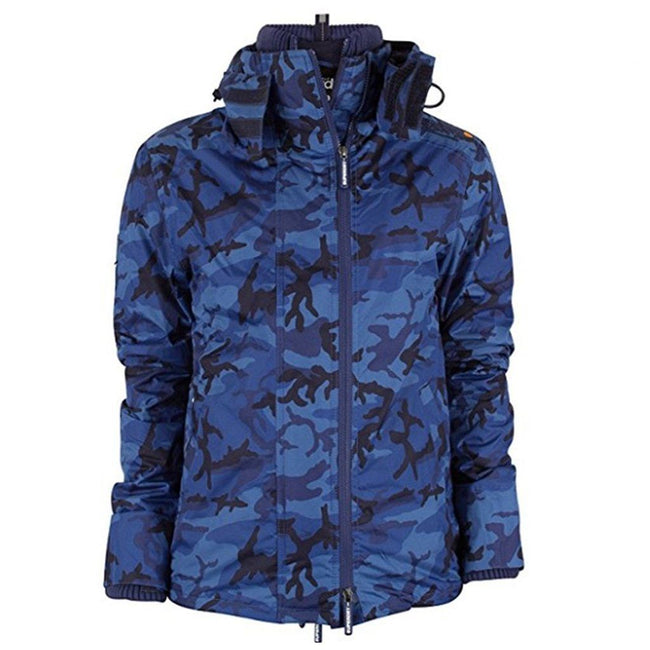 Superdry Pop Zip Hood Artic Windcheater in Navy Camo