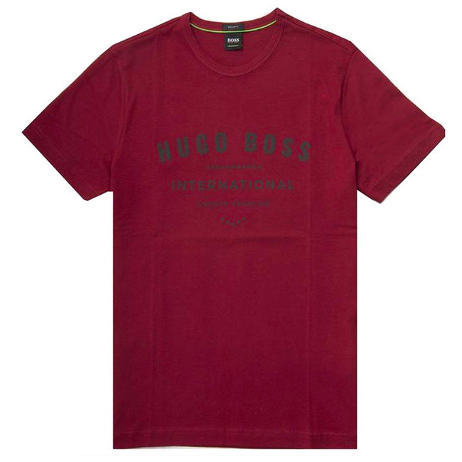 BOSS Athleisure Tee-1 Regular Fit Tee Shirt in Burgundy T-Shirts BOSS