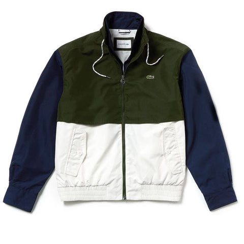 BH344-9NJ Colourblock Water-Resistant Jacket in White / Navy / Green Coats & Jackets Lacoste