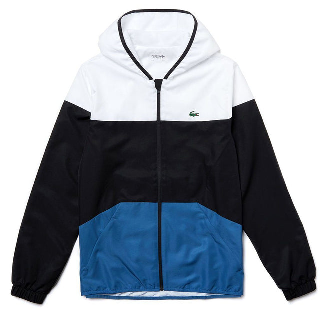 Lacoste Sport BH3588-6S9 Hooded Colourblock Jacket in White / Black / Blue