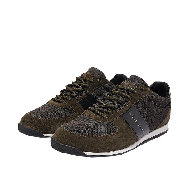 BOSS Athleisure Maze Lowp Knit Trainers in Dark Green
