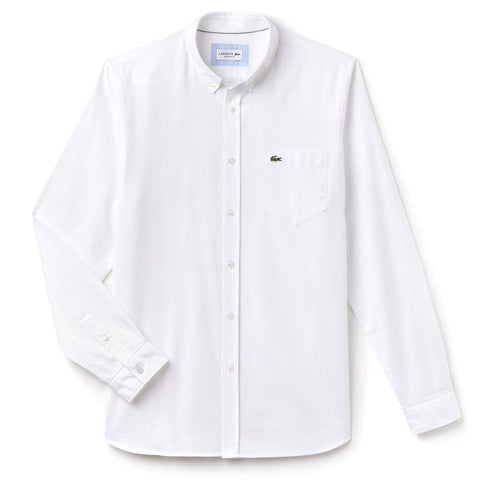 Lacoste CH4976-001 Button Down Collar Shirt in White Shirts Lacoste
