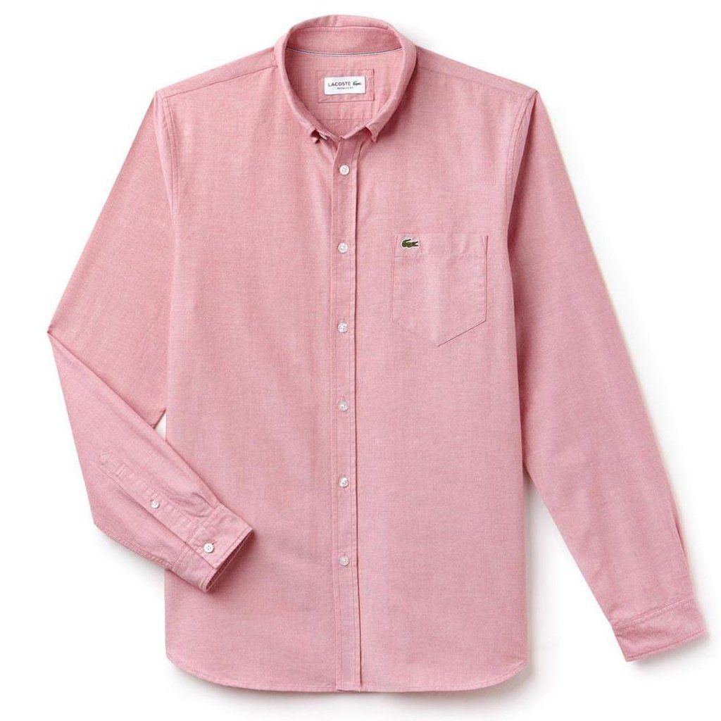 f438c0a9 Lacoste CH4976-5ZP Oxford Cotton Button Down Shirt in Red