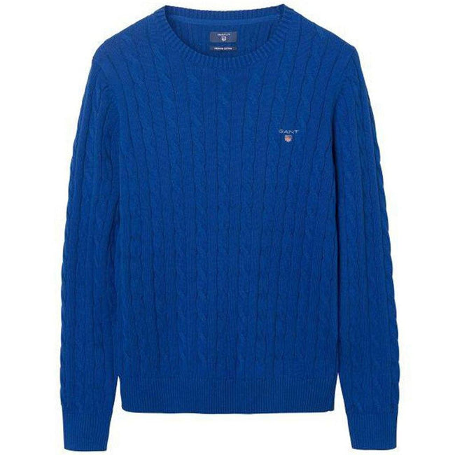 Gant Cotton Cable Crew Jumper in Yale Blue