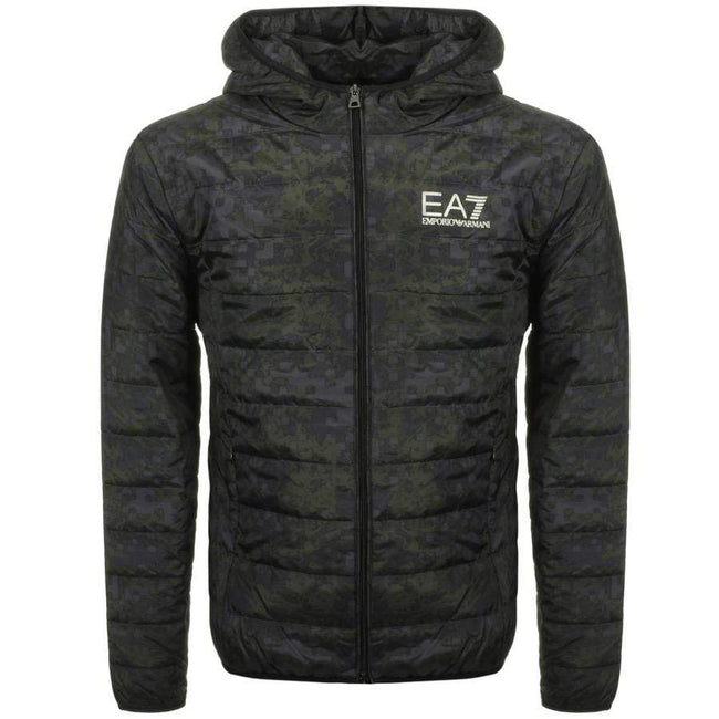 Emporio Armani EA7 Bomber Hooded Jacket in Fancy Green
