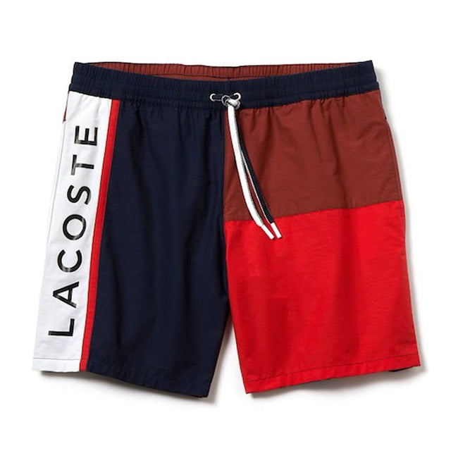 Lacoste MH4768 8UB Colourblock Taffeta Swimming Trunks in Navy Blue / Brown / Red / White