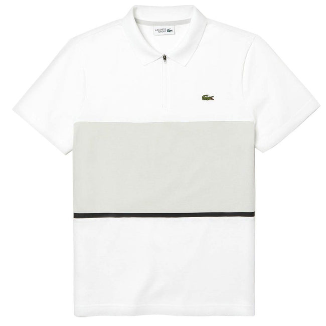 Lacoste Sport Zip Neck Colourblock Polo Shirt in White / Grey
