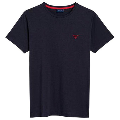 Gant Crew Neck Contrast Logo T-Shirt in Evening Blue T-Shirts Gant