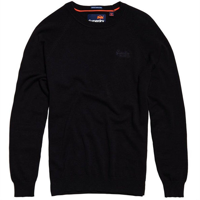 Superdry Orange Label Cotton Crew Neck Jumper in Dark Cavern Navy