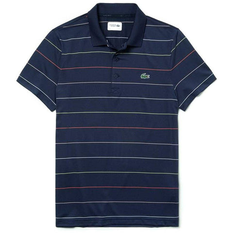 DH3443-6NN Striped Technical Polo Shirt in Navy / Red / White / Yellow Polo Shirts Lacoste Sport
