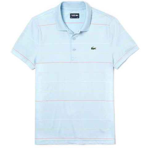 DH3443-6Q5 Striped Technical Polo Shirt in Light Blue / Red / White / Yellow Polo Shirts Lacoste Sport