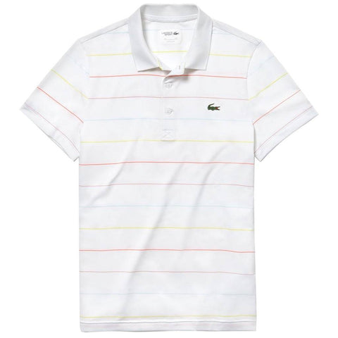 DH3443-A4P Striped Technical Polo Shirt in White / Red / Light Blue / Yellow Polo Shirts Lacoste Sport
