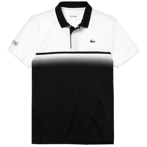 DH3448-BLD Colourblock Technical Pique Polo in White / Black Polo Shirts Lacoste Sport