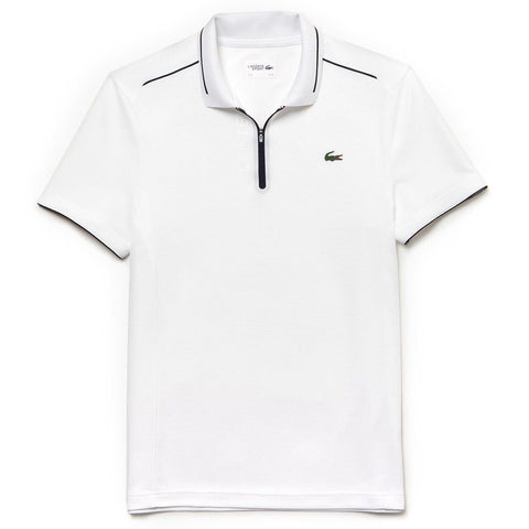 Lacoste Sport DH3462-522 Quarter Zip Polo Shirt in White Polo Shirts Lacoste