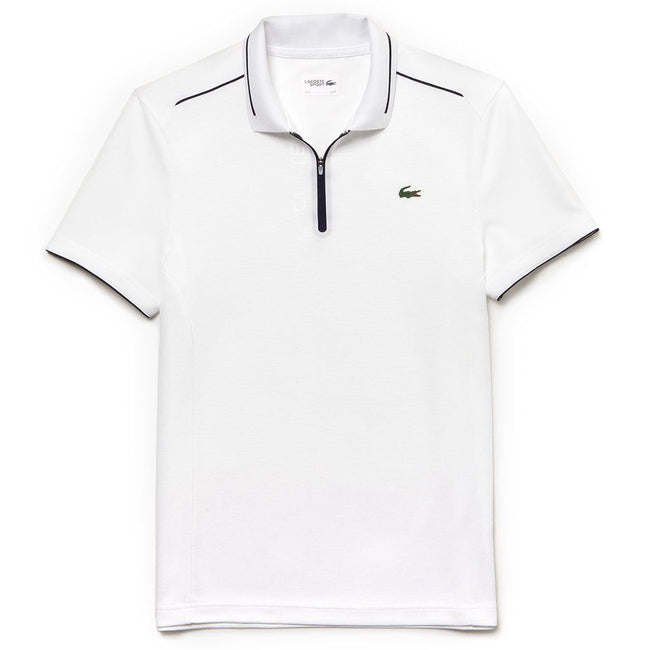 Lacoste Sport DH3462-522 Quarter Zip Polo Shirt in White