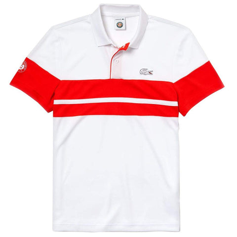 Lacoste Sport DH3468-5DD Short Sleeve Tech Pique Polo in White / Red Polo Shirts Lacoste