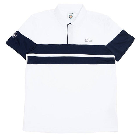 DH3468-DU9 Short Sleeve Tech Pique Polo in White / Navy Polo Shirts Lacoste Sport