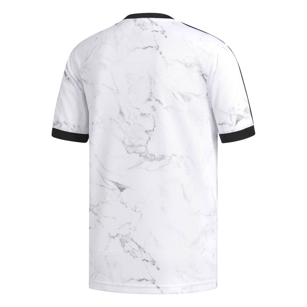 Adidas DH3889 Marble Effect Three Stripe T-Shirt in White