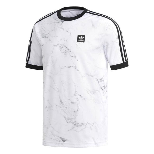 Adidas DH3889 Marble Effect Three Stripe T-Shirt in White T-Shirts adidas