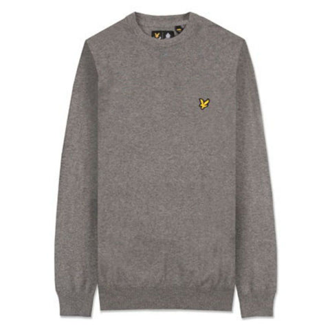 Lyle & Scott Cotton Merino Crew Neck Jumper in Mid Grey Marl Jumpers Lyle & Scott