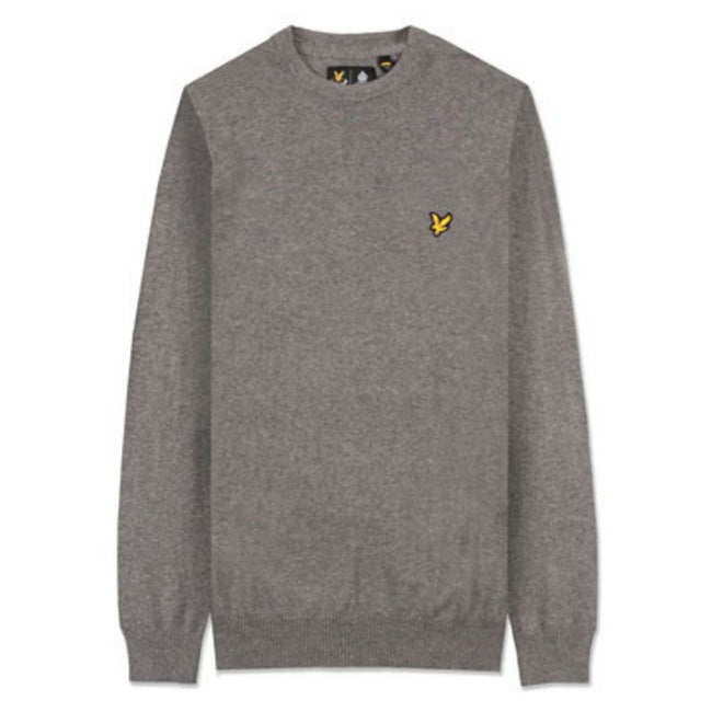 Lyle & Scott Cotton Merino Crew Neck Jumper in Mid Grey Marl